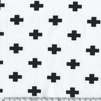 Jersey croix fond blanc 20 x 140 cm