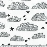 Jersey nuages fond blanc cassé 20 x 140 cm