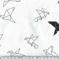 Jersey grues origami fond blanc cassé 20 x 140 cm