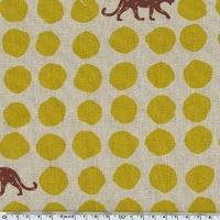 Tissu Echino ENDUIT Panthères coloris moutarde 20 cm x 110 cm