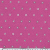 Tissu Croix argentées fond rose 20 x 110 cm