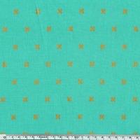 Tissu Croix dorées fond turquoise 20 x 110 cm