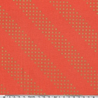 Tissu Dotties pois dorés fond orange 20 x 110 cm