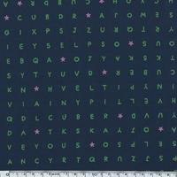 Tissu Games to play lettres fond marine 20 x 110 cm