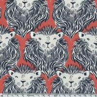 Tissu Lions fond corail 20 x 110 cm