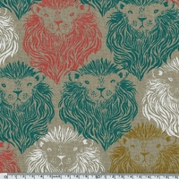 Tissu Lions fond grège 20 x 110 cm