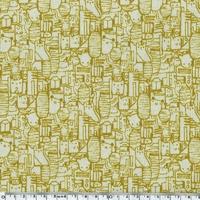 Tissu Tokyo train ride coloris moutarde 20 x 110 cm