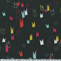 Tissu Moonlit couronnes fond noir 20 x 110 cm