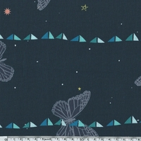 Tissu Moonlit Papillons fond marine 20 x 110 cm