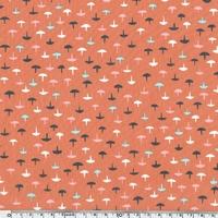 Tissu Homebody chamignons fond corail 20 x 110 cm