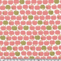 Tissu Pommes rose et doré 20 x 110 cm