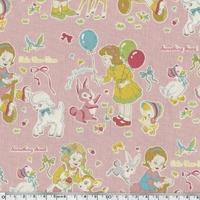 Tissu Rétro filles fond rose 20 x 110 cm