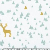 Jersey rênes dorés et triangles fond blanc 20 x 140 cm