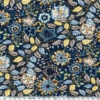 EXCLU Liberty Jersey Dominic bleu et moutarde 20 x 140 cm