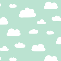 Jersey Minty clouds nuages 20 x 160 cm