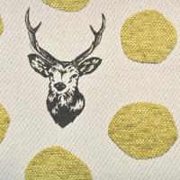 Tissu Echino JACQUARD Rênes pois dorés 20 cm x 110 cm