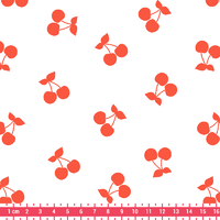 Cherries corail, poly/coton coloris chantilly 20 x 140 cm