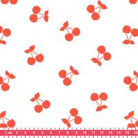 Cherries corail, poly/coton coloris chantilly 20 x 140 cm