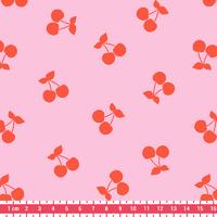 DERNIER COUPON Cherries corail, poly/coton coloris litchi 40 x 140 cm