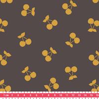 Cherries gold, poly/coton coloris poivre gris 20 x 140 cm
