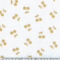 Cherries gold, jersey coton spandex blanc 20 x 140 cm