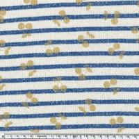 Cherries gold, sweat marinière coloris bleu vif 20 x 140 cm