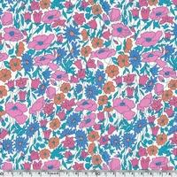 Liberty Poppy Daisy bleu et corail coloris L 20 x 137 cm
