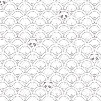 Jersey Pandalicious Hidden Panda Cottonbud gris clair fond blanc 20 x 150 cm