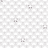 Tissu Pandalicious Hidden Panda Cottonbud gris clair fond blanc 20 x 110 cm