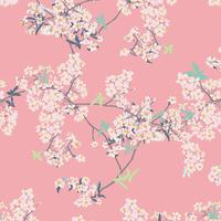 DERNIER COUPON Tissu Pandalicious Yinghua Cherrylight fond rose 45 x 110 cm