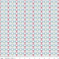 Tissu Vintage happy cercles fond blanc 20 x 110 cm