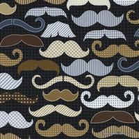 Tissu Moustaches fond noir 20 x 110 cm