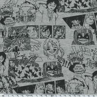 Jersey Manga fond gris 20 x 140 cm