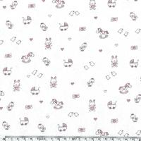 Jersey Cuties bébé rose fond blanc cassé 20 x 140 cm