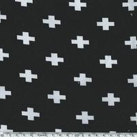Jersey croix fond noir 20 x 140 cm