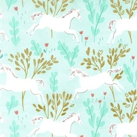 Tissu Sarah Jane Magic Unicorn Forest fond aqua 20 x 110 cm