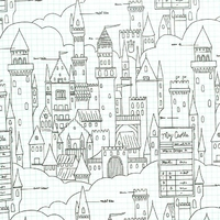 Tissu Sarah Jane Magic le plan du château, tissu à colorier 20 x 110 cm