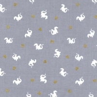 Tissu Sarah Jane Magic dragon fond gris 20 x 110 cm