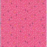 COUPON Tissu Droplets mini gouttes fond rose 65 x 110 cm
