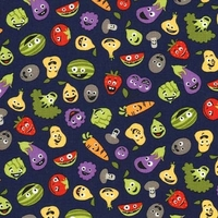 Tissu 7 fruits et légumes coloris midnight 20 x 110 cm