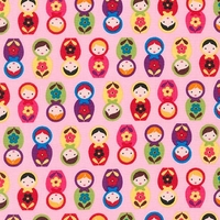 Tissu Mini poupées russes fond rose 20 x 110 cm