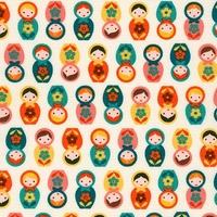 Tissu Mini poupées russes coloris rétro 20 x 110 cm