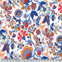 EXCLU Liberty Tana Stretch Mabelle bleu et orange 20 x 126 cm