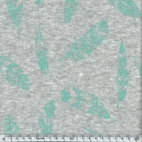 Molleton Plumes vert fond chiné 20 x 140 cm