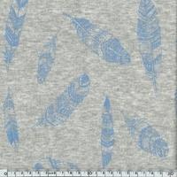 Molleton Plumes bleu fond chiné 20 x 140 cm