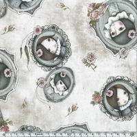 Tissu Curiosity Mirabelle fond crème 20 x 110 cm