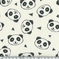 Tissu Molleton Panda envers minky fond beige 20 x 150 cm