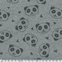 Tissu Molleton Panda envers minky fond gris chiné 20 x 150 cm