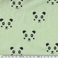 Jersey panda fond vert amande 20 x 140 cm