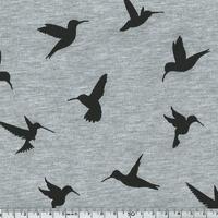 Jersey colibris fond gris chiné 20 x 140 cm
